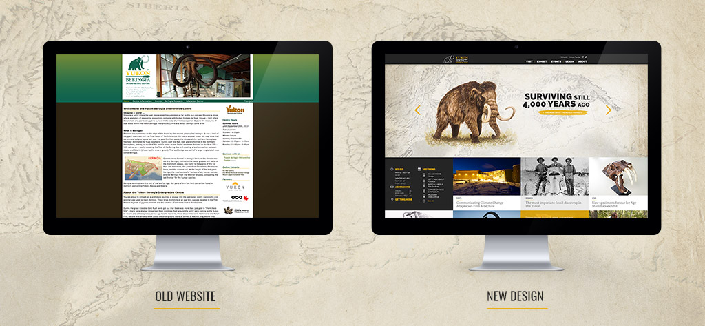 Comparison of old and new websites of Yukon Beringia Centre