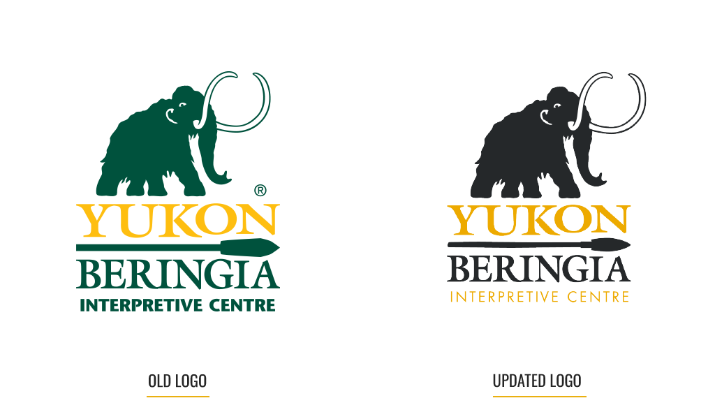 Old and new logo design of Yukon Beringia Centre