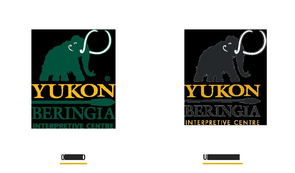 Old and new logo design of Yukon Beringia Centre
