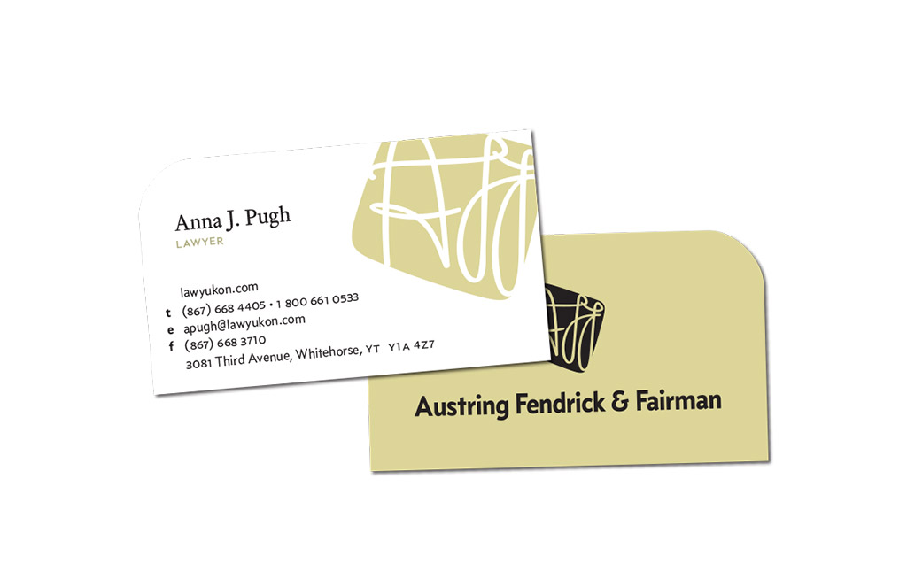 Logo design and business card for Yukon law firm Austring, Fendrick & Fairman