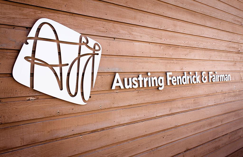 Sign with new logo design for Yukon law firm Austring, Fendrick & Fairman