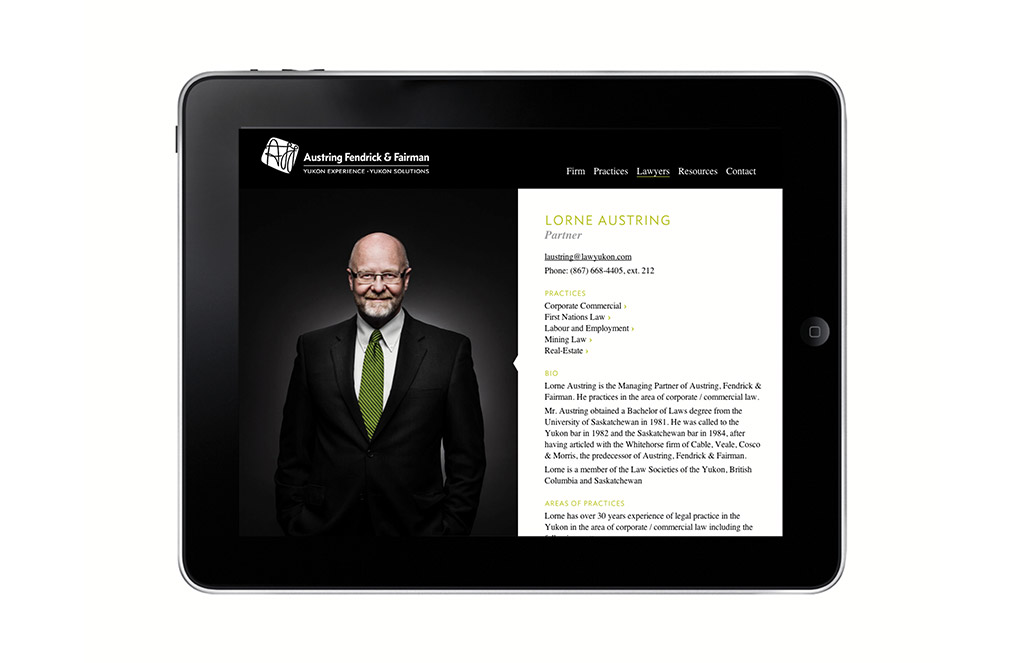 Web design for Yukon law firm Austring, Fendrick & Fairman